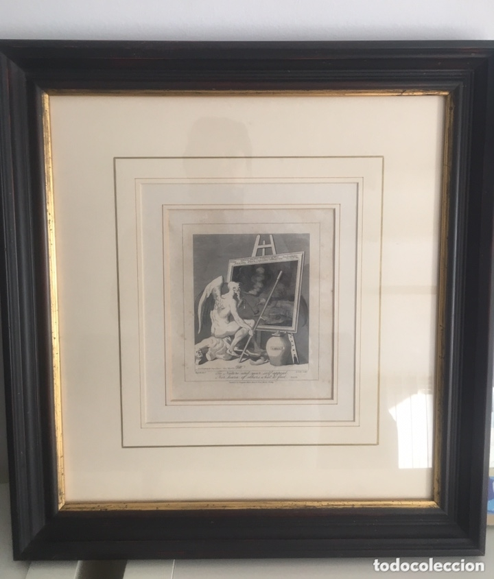 GRABADO ANTIGUO WILLIAM HOGARTH TIME SMOKING A PICTURE TIEMPO FUMANDO A UNA PINTURA (Arte - Grabados - Antiguos hasta el siglo XVIII)