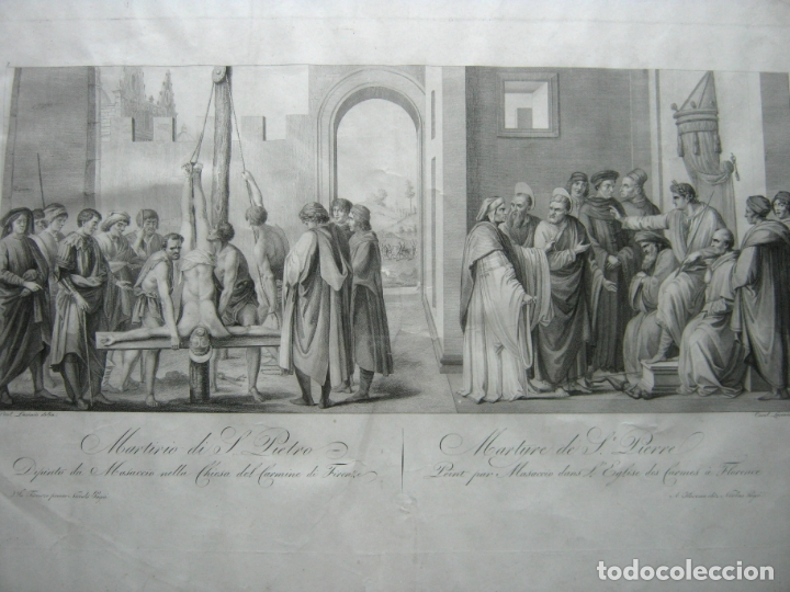 Arte: 63 CM - Martirio de San Pedro - Carlo Lasinio - Foto 2 - 174100194