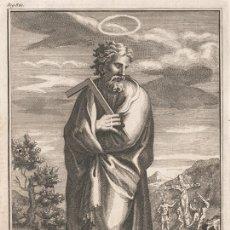 Arte: GRABADO PLANCHA DE COBRE DE 1760, SAN JUDAS TADEO. WILLIAM BURKITT, INFOLIO, SIGLO XVIII. Lote 174357504