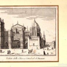 Arte: GRABADO CALCOGRAFICO VISTA DE LA CATEDRAL DE TOLEDO. SIGLO XVIII. Lote 174897873