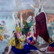 Arte: GRABADO ILUMINADO A MANO. PASO DEL MAR ROJO. DE FÁBRICA DE DOBLAS Y FUERTES. MÁLAGA. SIGLO XIX.. Lote 174914760