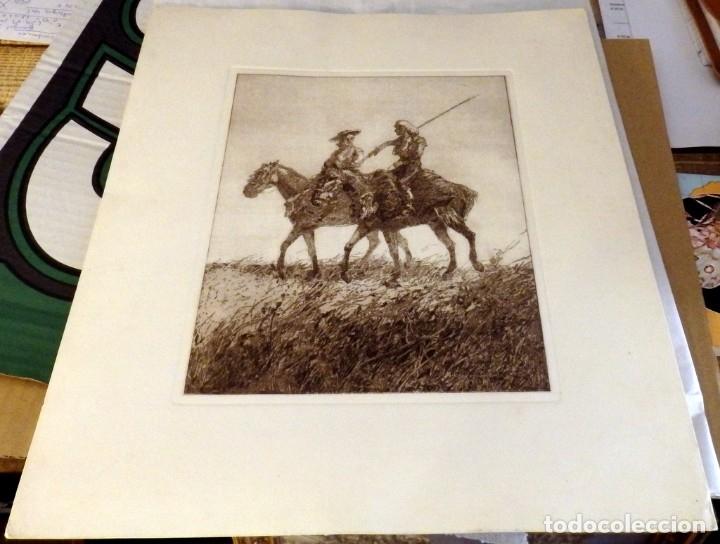 Arte: GRABADO ORIGINAL DE FRANCISCO HOHENLEITER, UNICO, COSTUMBRISMO , CABALLISTAS, 34X40 CMS - Foto 2 - 175183697