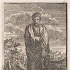 Arte: GRABADO PLANCHA DE COBRE DE 1760, SAN PEDRO APÓSTOL (CEFAS). WILLIAM BURKITT, INFOLIO, SIGLO XVIII. Lote 175241864