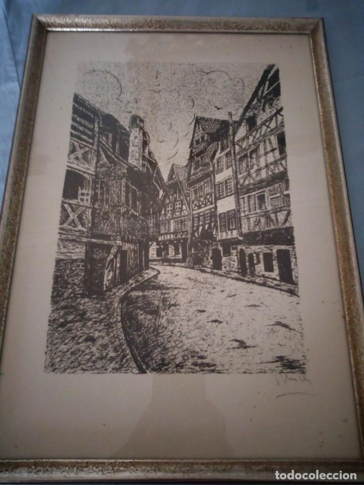 Arte: Bonito grabado de cuidad suiza,firmado y enmarcado. - Foto 2 - 175262143