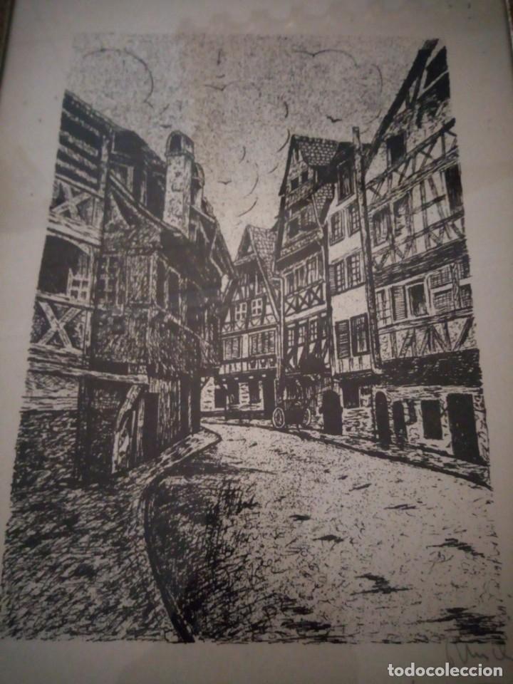 Arte: Bonito grabado de cuidad suiza,firmado y enmarcado. - Foto 3 - 175262143
