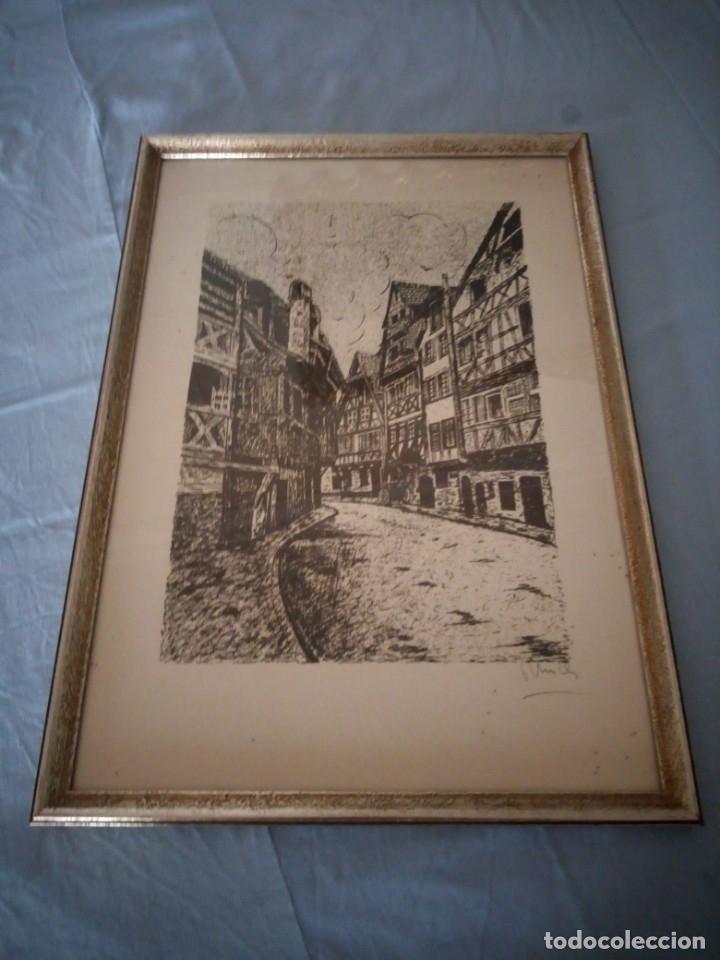 Arte: Bonito grabado de cuidad suiza,firmado y enmarcado. - Foto 5 - 175262143