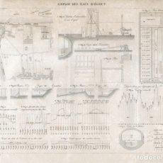 Arte: GRABADO INGENIERÍA CIVIL 1869, DISEÑO Y FUNCIONAMIENTO DE LA DEPURADORA DE AGUAS DE LEVALLOIS-PERRET. Lote 175295637
