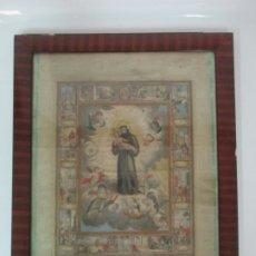 Arte: PRECIOSO GRABADO COLOREADO - HISTORIA DE SAN ANTONIO DE PADUA - S. XIX. Lote 175663412