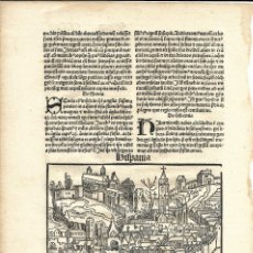Arte: 1497 GRABADO HOJA ORIGINAL INCUNABLE LIBER CHRONICARUM SCHEDEL 3ª EDICIÓN HISPANIA ESPAÑA. Lote 175696280