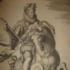Arte: RARÍSIMO GRABADO ECUESTRE DUQUE DE ALEÇON, TERCIOS,, ORIGINAL 1634,GERRITSZ, GRAN TAMAÑO. Lote 175832115