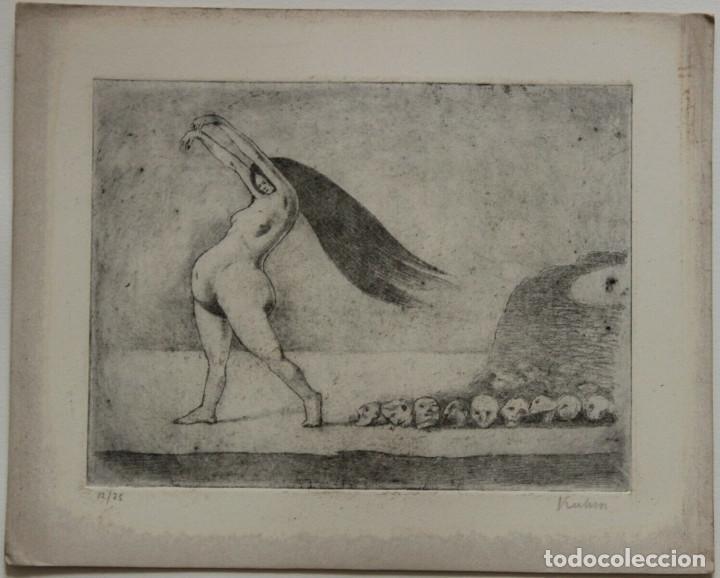 AGUAFUERTE DE ALFRED KUBIN FIRMADO Y NUMERADO 12/75 (Arte - Grabados - Contemporáneos siglo XX)
