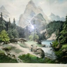 Arte: ~~~~ GRABADO COLOREADO J. FRANK, BONITO PAISAJE MONTAÑES, NUMERADO . ~~~~. Lote 176088638