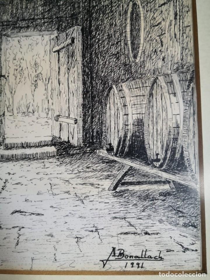 Arte: J. Bonallach (1925-2016). Bodega a plumilla. 1991. - Foto 3 - 176287624