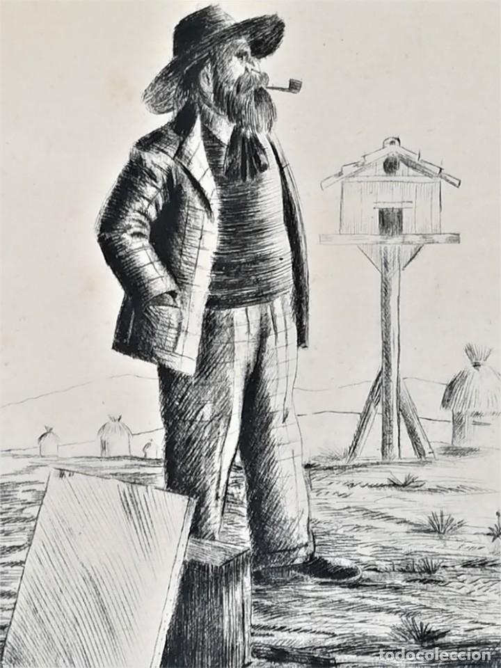 GRABADO ORIGINAL, IMAGEN PINTOR RAMON CASAS O SANTIAGO RUSIÑOL CON OLEO EN CAMPO,FIRMADO UTRILLO. (Arte - Grabados - Contemporáneos siglo XX)
