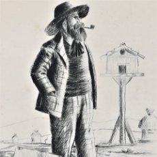 Arte: GRABADO ORIGINAL, IMAGEN PINTOR RAMON CASAS O SANTIAGO RUSIÑOL CON OLEO EN CAMPO,FIRMADO UTRILLO.. Lote 176381563