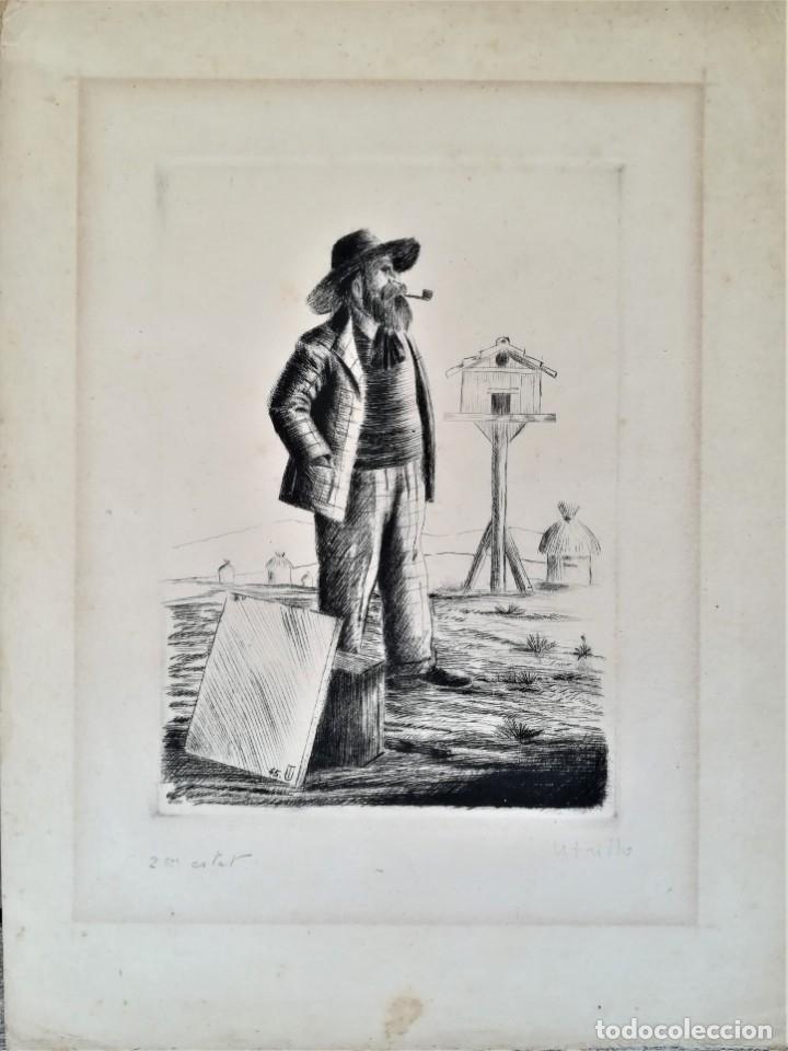 Arte: GRABADO ORIGINAL, IMAGEN PINTOR RAMON CASAS O SANTIAGO RUSIÑOL CON OLEO EN CAMPO,FIRMADO UTRILLO. - Foto 2 - 176381563