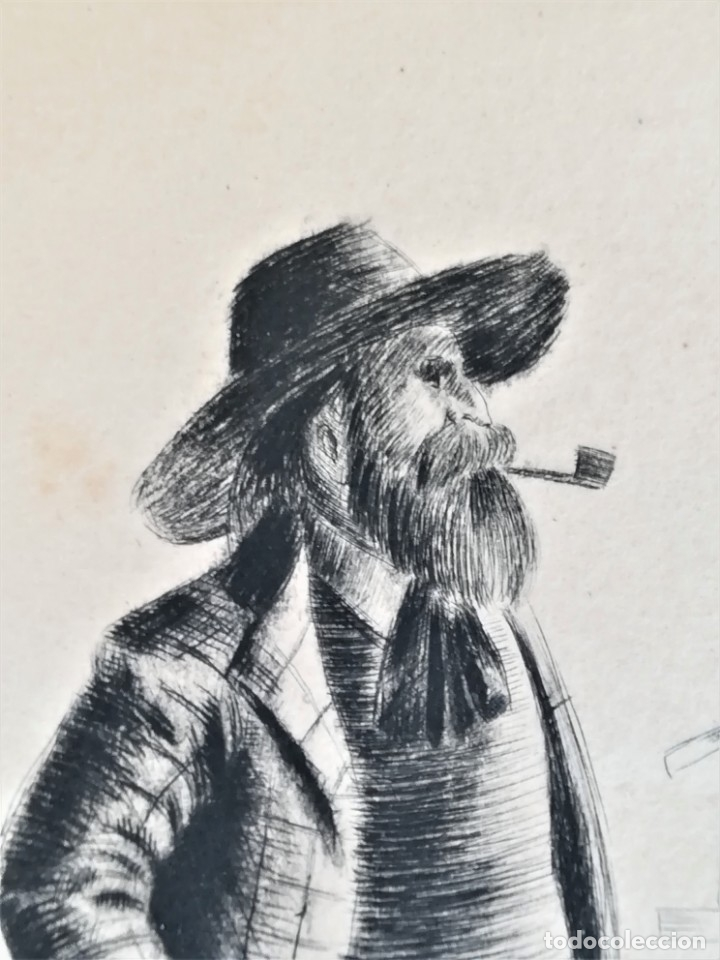 Arte: GRABADO ORIGINAL, IMAGEN PINTOR RAMON CASAS O SANTIAGO RUSIÑOL CON OLEO EN CAMPO,FIRMADO UTRILLO. - Foto 4 - 176381563