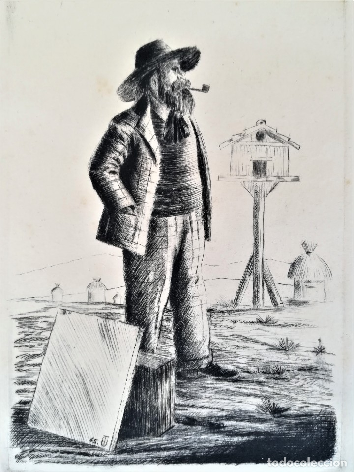 Arte: GRABADO ORIGINAL, IMAGEN PINTOR RAMON CASAS O SANTIAGO RUSIÑOL CON OLEO EN CAMPO,FIRMADO UTRILLO. - Foto 5 - 176381563