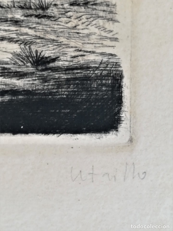 Arte: GRABADO ORIGINAL, IMAGEN PINTOR RAMON CASAS O SANTIAGO RUSIÑOL CON OLEO EN CAMPO,FIRMADO UTRILLO. - Foto 12 - 176381563