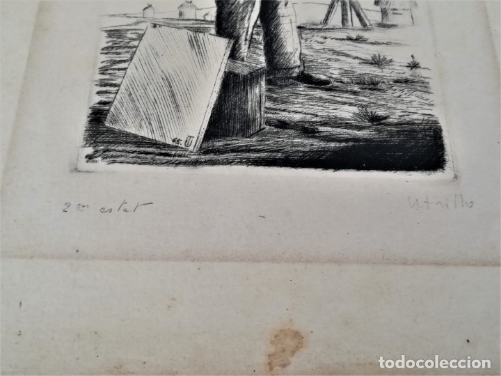 Arte: GRABADO ORIGINAL, IMAGEN PINTOR RAMON CASAS O SANTIAGO RUSIÑOL CON OLEO EN CAMPO,FIRMADO UTRILLO. - Foto 13 - 176381563