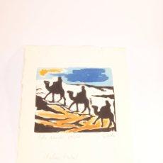 Arte: GRABADO A COLOR DE LOS REYES MAGOS DE ORIENTE. NAVIDAD. FIRMADO. J, SANTOS. 30 X 20 CM.. Lote 176840535