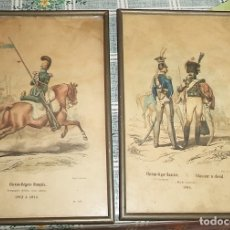 Arte: VINTAGE 2 ANTIGUOS CUADROS GRABADOS SOLDADOS LANCEROS IMPERIALES IMP. GALVAN MIDEN 25/16 CM . Lote 176861835