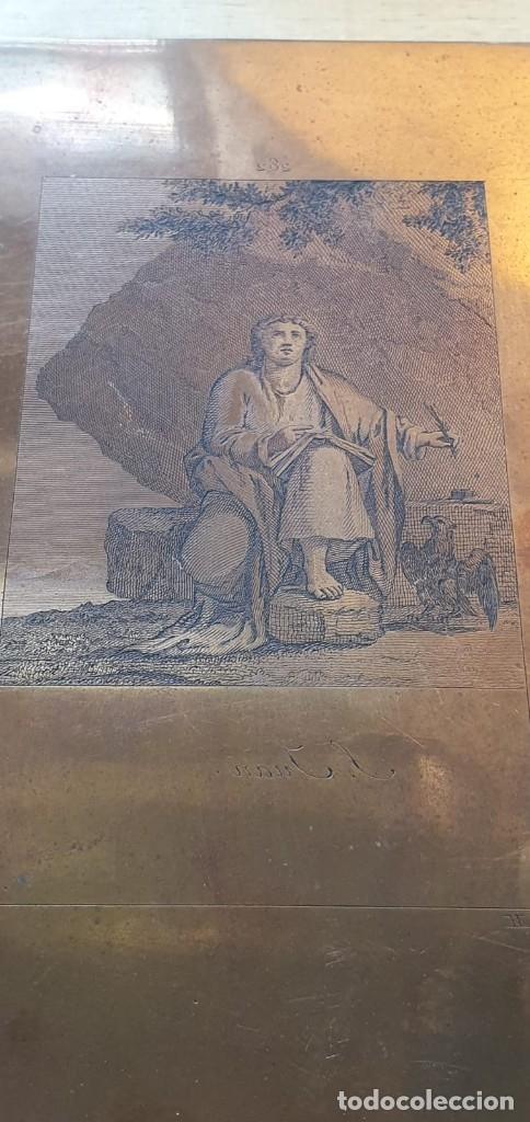 Arte: Plancha de cobre o matriz grabado de San Juan evangelista Finales siglo XVIII - Foto 2 - 176984279