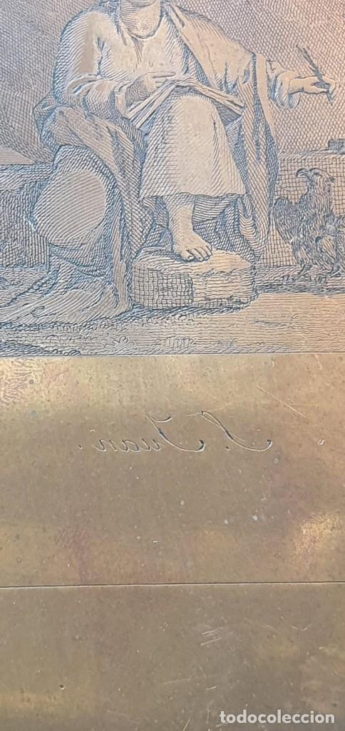 Arte: Plancha de cobre o matriz grabado de San Juan evangelista Finales siglo XVIII - Foto 5 - 176984279