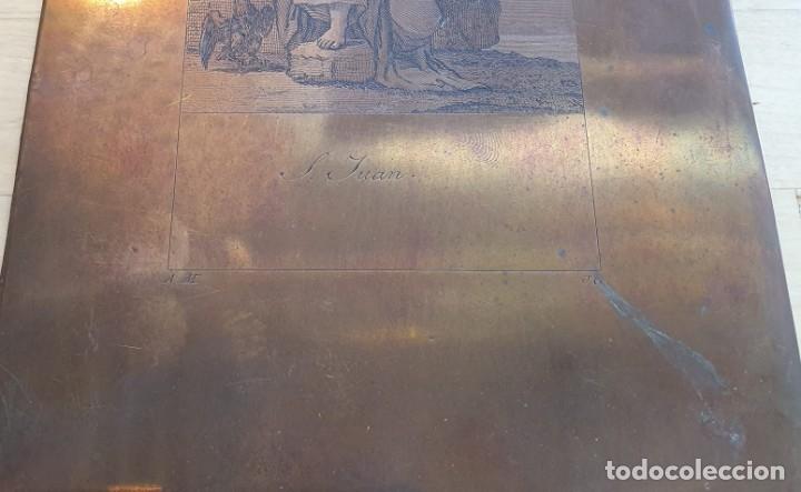 Arte: Plancha de cobre o matriz grabado de San Juan evangelista Finales siglo XVIII - Foto 7 - 176984279