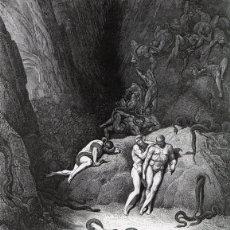 Arte: DORÉ, XILOGRAFÍA C.1883. DIVINA COMEDIA DANTE. INFIERNO, METAMORFOSIS DE AGNELLO, SERPIENTE. GRABADO. Lote 177937923