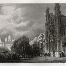 Arte: GRABADO AL ACERO DE 1842, VISTA DE LA IGLESIA DEL CARMEN DE CÁDIZ Y LA ALAMEDA. LALAISSE, FURNE. Lote 177938188