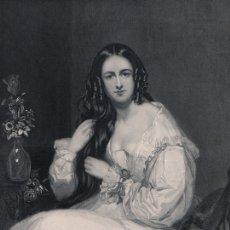 Arte: GRABADO AL ACERO 1844, RETRATO DE KATHERINE AIRLIE, POETISA CANTAUTORA INGLESA. DIBUJÓ JOHN BOSTOCK. Lote 177938604