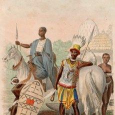 Arte: GRABADO ILUMINADO DE 1858, TIPOS HUMANOS Y ATUENDOS CENTROAFRICANOS, CHAD. ETNOGRAFÍA. PHILIPPOTEAUX. Lote 177939313