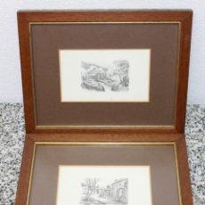 Arte: PAREJA DE GRABADOS BIEN ENMARCADOS CON ESCENAS DE CAMPO - FIRMA IMPRESA A. RUSSO - MEDIADOS SIGLO XX. Lote 178047698