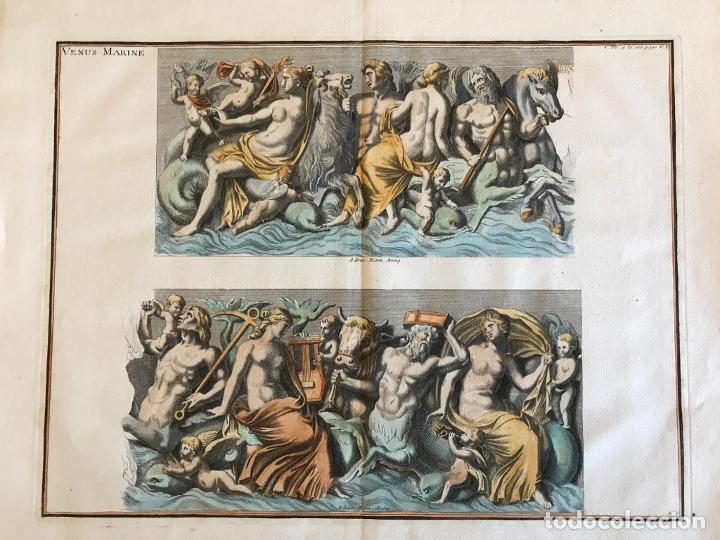 GRAN GRABADO MITOLÓGICO DE LA VENUS MARINA, 1719. B. DE MONTFAUCON (Arte - Grabados - Antiguos hasta el siglo XVIII)