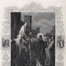 Arte: GRABADO AL ACERO DE 1864, RESURRECCIÓN DEL HIJO DE LA VIUDA DE NAÍN. THOMAS KELLY & CO., FLEETWOOD. Lote 179004448