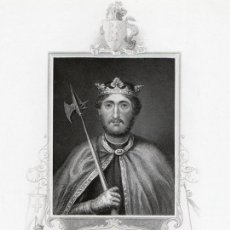 Arte: GRABADO AL ACERO DE 1873, RETRATO DE RICARDO CORAZÓN DE LEÓN, CASA PLANTAGENET, RICHARD LIONHEART. Lote 179005238
