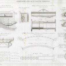 Arte: GRABADO INGENIERÍA CIVIL 1863, ABASTECIMIENTO DE AGUA DE WASHINGTON, ACUEDUCTO POTOMAC, ROCK CREEK. Lote 179007446