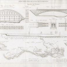 Arte: GRABADO INGENIERÍA CIVIL 1863, ABASTECIMIENTO DE AGUA DE WASHINGTON, ACUEDUCTO POTOMAC, ROCK CREEK. Lote 179007460