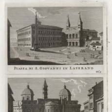 Arte: GRABADO A BURIL DE 1795, DOS VISTAS DE ROMA, DOMENICO PRONTI. SAN JUAN DE LETRÁN, SANTA Mª MAGGIORE. Lote 179008473