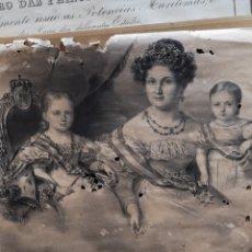 Arte: ANTIGUO GRABADO DE LAS INFANTAS Y DE LA REINA ISABEL SEGUNDA, CÓMO SE PUEDE OBSERVAR EN LAS FOTOS ES. Lote 179187328