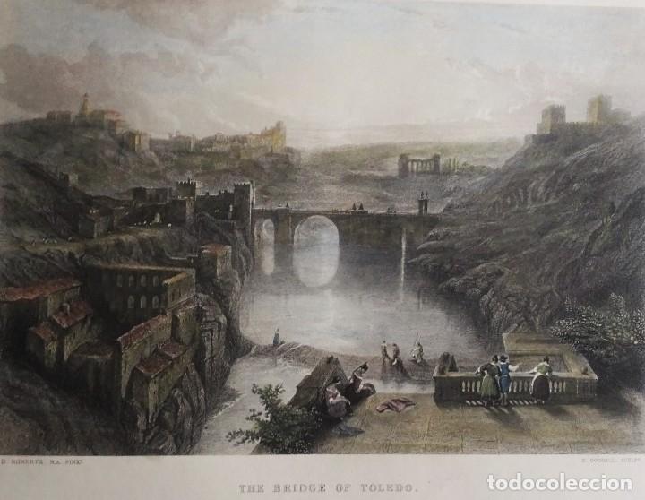 TOLEDO, TAJO, PUENTE DE ALCÁNTARA, GRABADO GRAN FORMATO, GOODALL/ROBERTS, 1850, THE BRIDGE OF TOLEDO (Arte - Grabados - Modernos siglo XIX)