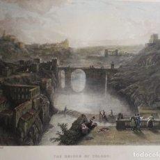 Arte: TOLEDO, TAJO, PUENTE DE ALCÁNTARA, GRABADO GRAN FORMATO, GOODALL/ROBERTS, 1850, THE BRIDGE OF TOLEDO. Lote 179315582