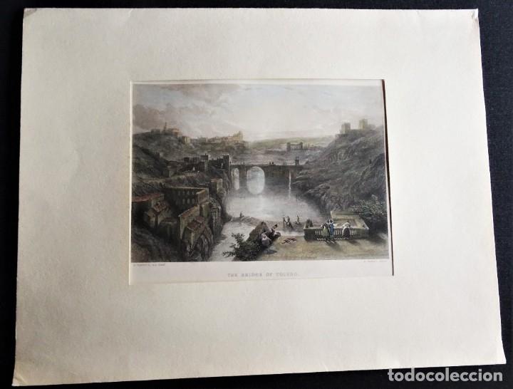 Arte: Toledo, Tajo, Puente de Alcántara, grabado gran formato, Goodall/Roberts, 1850, The Bridge of Toledo - Foto 2 - 179315582