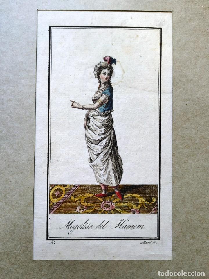 AGUAFUERTE COLOREADO - MOGOLESA DEL HAREM - GRABADOR: MARTI - 18,5 X 11,5 CM (Arte - Grabados - Antiguos hasta el siglo XVIII)