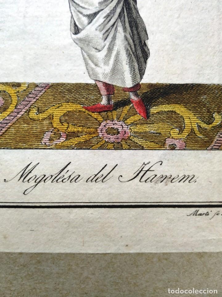 Arte: AGUAFUERTE COLOREADO - MOGOLESA DEL HAREM - GRABADOR: MARTI - 18,5 X 11,5 CM - Foto 3 - 180035211