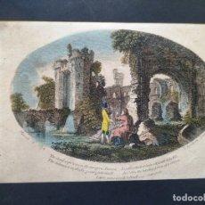 Arte: AGUAFUERTE COLOREADO - AÑO 1774 - GRABADOR: S. SPARROX - TEXTO DE SHAKESPEARE 21 X 15,5 CM. Lote 180035701
