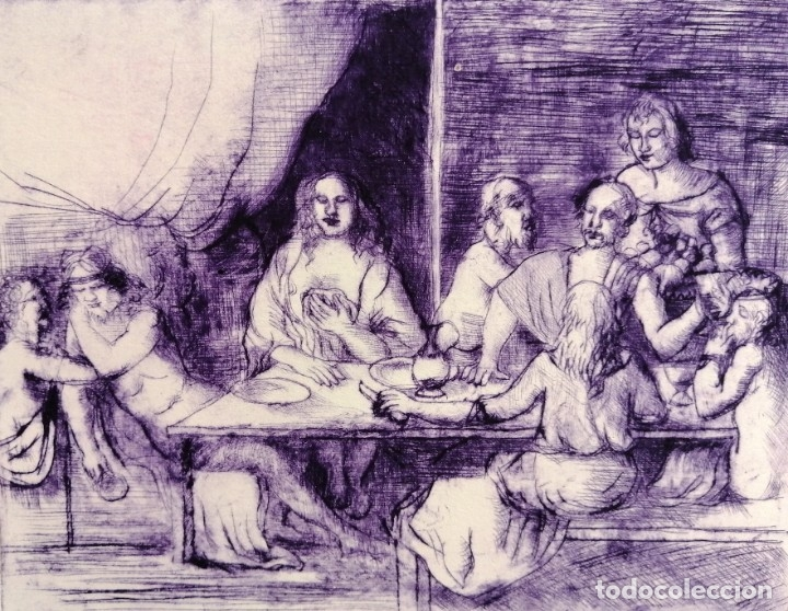 FIRMADO FERRER. GRABADO CON TIRAJE P.A. ESCENA CON PERSONAJES (Arte - Grabados - Contemporáneos siglo XX)