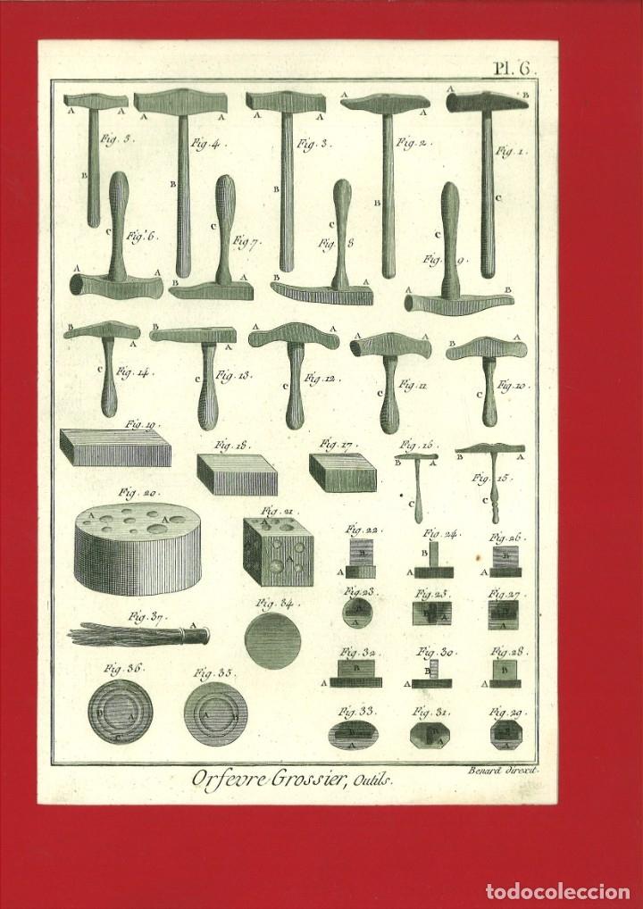 BERNARD DIREXIT. GRABADO SIGLO XVIII: ORFEVRE GROSSIER , OUTILS (Arte - Grabados - Contemporáneos siglo XX)
