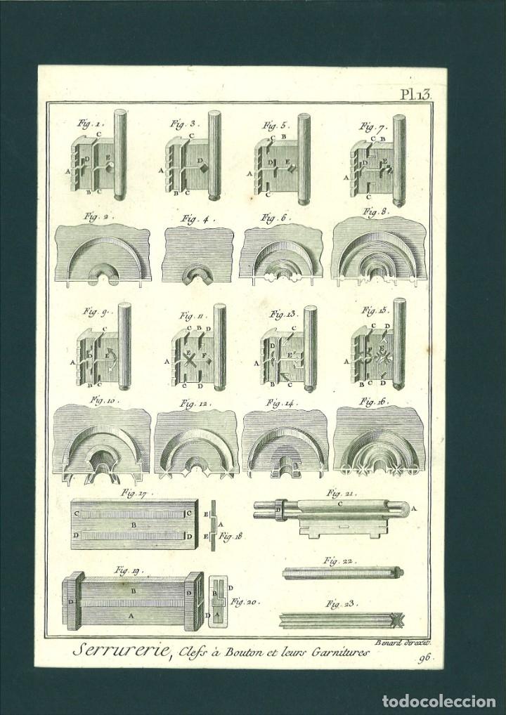 BERNARD DIREXIT. GRABADO SIGLO XVIII: SERRURERIE, CLEFS A BOUTON ET LEURS GARNITURES (Arte - Grabados - Contemporáneos siglo XX)
